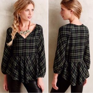 Anthropologie Holding Horses plaid peplum blouse